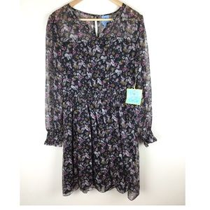 NEW CeCe Chiffon Floral Long Sleeve Dress